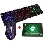 Оригинал Colorful Подсветка USB Wired Gaming Клавиатура 2400DPI LED Gaming Мышь Combo с Мышь Pad