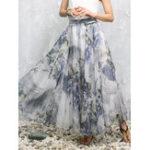 Оригинал Боевые цветочные принты Шифон юбки