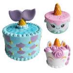 Оригинал Cute Unicorn Cake Squishy 11 * 10CM Super Slow Rising Squeeze Cream Ароматизированный оригинальный пакет