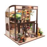 Оригинал Cuteroom Handcraft DIY Кукла Дом Time Cafe Toy Деревянная миниатюрная мебель Светодиодный Подарок