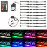 Оригинал 12V 50W Многоцветный беспроводной Дистанционное Управление мотоцикл Лампа RGB Гибкие полосы Ground Effect Light