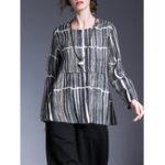 Оригинал Miting Полосатая длинная рукавная блузка