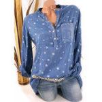 Оригинал Plus Размер Casual Женское Звезда печатных рубашек V-образным вырезом