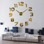 Оригинал 3DБезрамнаястенаЧасыСовременнаяобложка большого зеркала DIY Room Home Office Decorations
