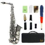 Оригинал LADE Черный никель Eb Alto Saxphone Серебро E Плоский саксофон Sax с Сумка Чистый Набор
