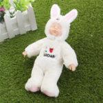 Оригинал 25см Смазливая кролика Одеяние новорожденного Спящий Soft Винил Reborn Baby Кукла Подарочная игрушка