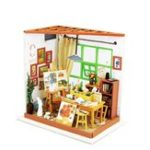 Оригинал Robotim Diy Miniature Wooden Doll House Furniture Toys Handmade Model Kit Studio DollHouse