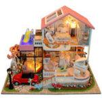 Оригинал DIY Деревянные миниатюры Розовый Villa Dollhouse Furniture LED Набор Детские игрушки Подарочные