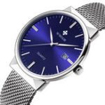 Оригинал WWOOR 8826 Ultra Thin Calendar Stainless Steel Quartz Watch