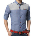 Оригинал Mens Patchwork Cotton Linen Pocket Elegant Non-iron Рубашка