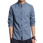 Оригинал Мужские китайские стиль три четверти рукава повседневные льняные рубашки