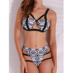 Оригинал Printed Bandage Strappy Beachwear Women  Tankinis Sets