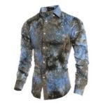 Оригинал Мужская Тонкий Fit Fashion 3D-печать с длинным рукавом Casual Рубашка