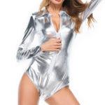 Оригинал Передняя молния с длинным рукавом Сексуальный Glossy Женское Clubwear