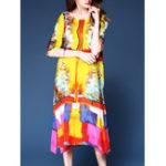 Оригинал Цветочная печать Half Sleeve Split Платье