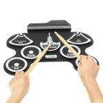Оригинал 7 Pad Портативный электронный рулонный барабан Silicon Набор с барабаном Палка Foot Pedal Special Pad Shape