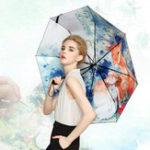 Оригинал LYZA Ручная роспись 3 Folds Дождь Umbrella Солнце зонтик Складные солнцезащитные зонтики