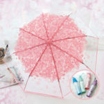 Оригинал PEVA Romantic Cherry Blossoms Прозрачный зонтик Складной зонтик Sun Rain Gear