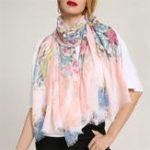 Оригинал Женское Chiness акварель картины шарф цветок шаль
