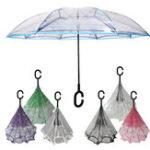 Оригинал Обратные зонтики Цветы Творческие двойные слои вверх ногами Self Standing Авто Rain Gear