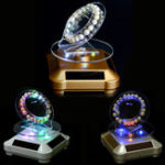 Оригинал LED Солнечная Power Rotary Showcase Jewelry Дисплей Stand Holder