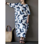 Оригинал O-NEWE Женское Loose Floral Slit Half Sleeve Floral Платье