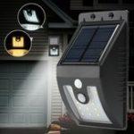 Оригинал Солнечная Powered 16 LED PIR Движение Датчик Настенный светильник На открытом воздухе Сад Водонепроницаемы Лампа