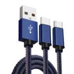 Оригинал Bakeey 2 in 1 Type C Micro USB Denim Плетеный USB-кабель для зарядки 1.2M для Xiaomi 6 S8 S9 Note 8
