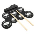 Оригинал 7 Pad Портативный электронный рулонный барабан Silicon Набор с барабаном Палка Педаль для ног