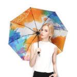 Оригинал LYZA Ручная роспись 3 Folds Rain Umbrella Солнцезащитный зонт Зонт Солнце Складные