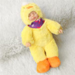 Оригинал 25 см Смазливая утка одежды Новорожденный Спящий Soft Винил Reborn Baby Кукла Подарочная игрушка