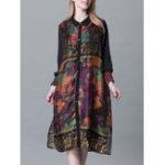 Оригинал Plus Размер Отверстие воротник Ruffle Hem Цветочные платья