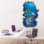 Оригинал Honana 3D Seafloor Ocean Wall наклейки Home Decor Mural Art Съемный стикер декорации океана океана