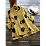 Оригинал Gracila Casual Polka Dot Stand Collar Long Sleeve Blouses