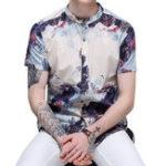 Оригинал Мужская мода Casual Linen Lnk Ландшафтная печать Летний Шир