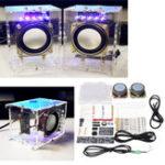 Оригинал 5V USB Mini Усилитель DIY Динамик Набор 70x75x103mm 3W на канал Прозрачный акрил Чехол