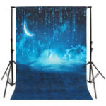 Оригинал 5x7ft Blue Sky Moon Glitter Starry Night Theme Photography Vinyl Background Backdrop for Studio