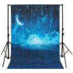 Оригинал 5x7ft Blue Sky Moon Glitter Starry Night Theme Photography Vinyl Background Backdrop for Studio