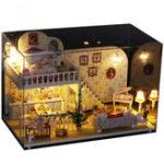 Оригинал iiecreate K-023 Амстердам Деревенский коттедж DIY Кукольный дом с мебельной крышкой