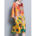 Оригинал Элегантные цветочные печатные платья Silk 3/4 Sleeve Silk