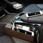 Оригинал МногофункциональныйпластикАвтоSeatGapStorage Коробка USB Wireless Charge Phone Holder Органайзер
