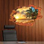 Оригинал MIICOCreative3DIslandSeaSunset Кокос Palm Removable Home Room Декоративный настенный декор наклейки