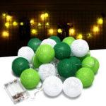 Оригинал Батарея Powered Warm White 20 LED Зеленая ротанговая шариковая нить Сад Фея Лампа Праздничный праздничный свет