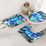 Оригинал 3PCS Ванная комната Non-Slip Dolphin Sea Подставка для ковриков Туалетная крышка Ванна Мат Идеальный комбинационный набор Extra Soft Коврик