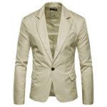 Оригинал Mens Pure Color Тонкий Fit Busniess Casual Suit Blazers