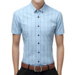 Оригинал Mens Summer Fashion Plaid Printing Business Casual Shirts