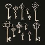 Оригинал 13шт Sliver Antique Vtg старый взгляд Изысканные скелетные ключи Лот Кулон Необычные Сердце DIY Ювелирные изделия