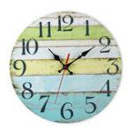 Оригинал Rustic Винтаж Стена Часы Цветные доски MDF для дома Стильные украшения Дизайн Art Decorate