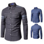 Оригинал Mens Double Pockets Patchwork с длинным рукавом Fit Designer Рубашка