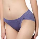 Оригинал Хлопок средней талии Сексуальный кружева Trim Solid Color Panties